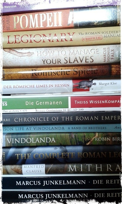 A pile of research books about ancient Rome