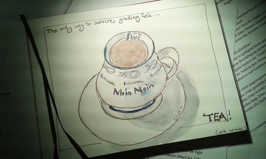 Sandra Schwab's desk with a sketch of a cup of tea