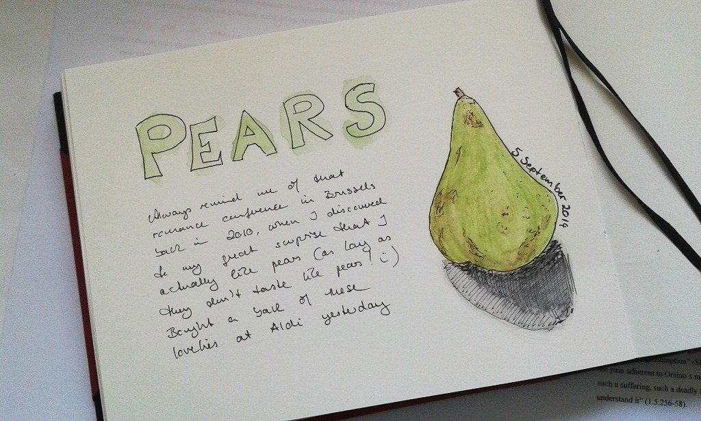 a sketch of a pear, done by Sandra Schwab