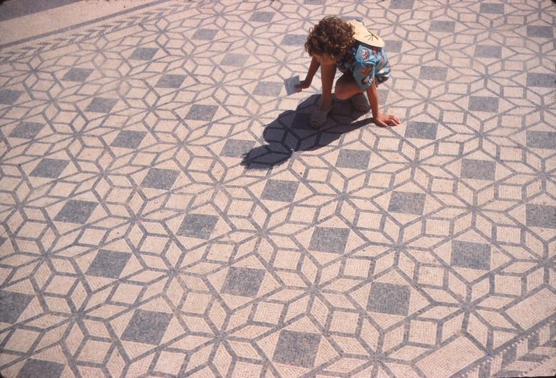 A picture of little Alison on the mosaic